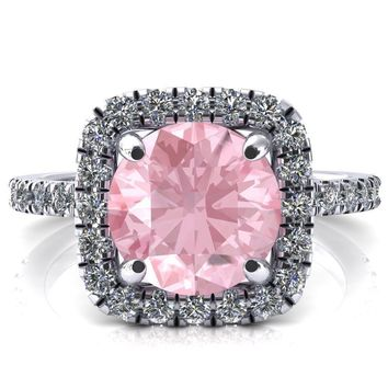Molly Round Pink Sapphire Halo 4 Prong 3/4 Diamond Eternity Engagement Ring