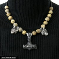 Large Viking Design Mjolnir Hammer with Tribal Wolves On Leather Cord Necklace w/ Gemstone Beads