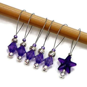 Knitting Stitch Markers Set, Snag Free, DIY Knitting Tools, Purple, Silver, Gift for Knitter, Craft Supplies, TJBdesigns