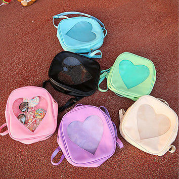 Style Women Transparent Heart Shaped Backpack Schoolbag Travel Hiking Bags YTHU