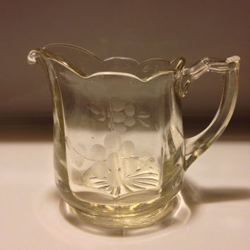 EAPG Flint Glass Creamer, Wheel Etched Floral Pattern, Four Part Mold Pressed Glass, Debris, Bubbles, Heavy, Charming Victorian