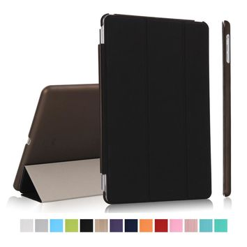 for new ipad 9.7 2017 smart case wake up sleep magnetic pu leather with hard plastic back cover stand function