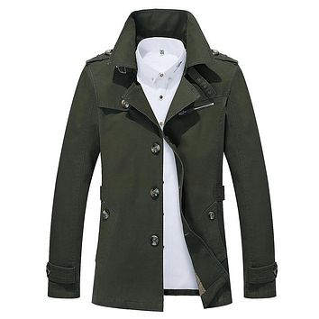 Spring Autumn Casual Medium Long Fine Pure Cotton Military Style Coats