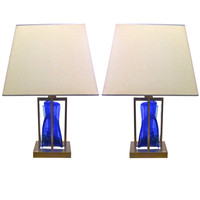 1990's Brushed Steel and Heavy Blue Glass Block Pair of Lamps