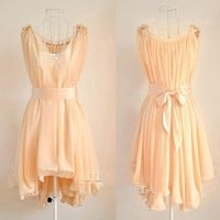 Angelic Spring. Peach Chiffon Wavy Hem Sleeveless Dress. Bridesmaids | GlamUp - Clothing on ArtFire