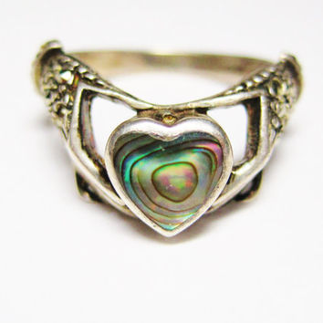 Vintage Claddagh Ring Marcasites Abalone Sterling Size 8