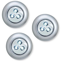 LIGHT IT by Fulcrum 30010-301 3 LED Wireless Stick-On Tap Light,3 Pack, Silver