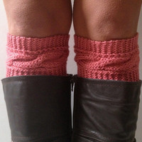 Pink Boot Liners Boot Cuffs Handknit Rose Cabled Boot Toppers