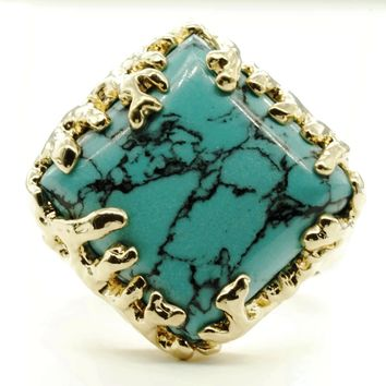 Coral Wrapped Offset Square Simulated Turquoise Stone Adjustable Fashion Ring in Gold Tone