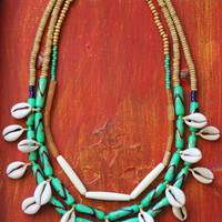Cowrie shell necklace, handpainted, agate, bone, wood and glass beads