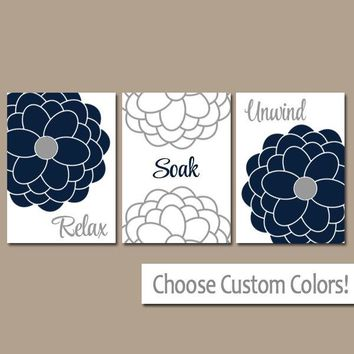 Navy Gray BATHROOM Wall Art, CANVAS or Prints, Bathroom Decor, Relax Soak Unwind, Bathroom Quotes, Flower Bathroom Pictures, Set of 3