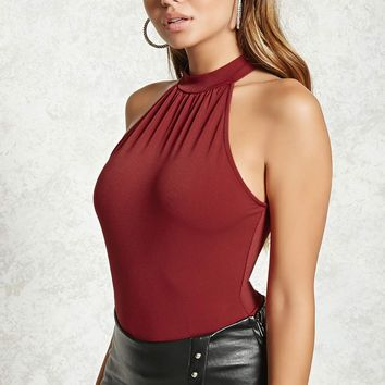 Textured Mock Neck Bodysuit