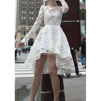 [148.99] Attractive Lace Bateau Neckline A-Line Hi-lo Wedding Dresses With Beaded Handmade Flowers - dressilyme.com