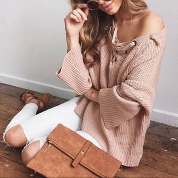 Bandage V-Neck Sexy Solid Color Sweater