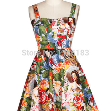 Free shipping fashion rose lady vintage print dress spaghetti strap puff high waist one-piece dress Alternative Measures - Brides & Bridesmaids - Wedding, Bridal, Prom, Formal Gown