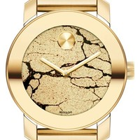 Women's Movado 'Bold' Crackle Dial Bracelet Watch, 36mm - Gold