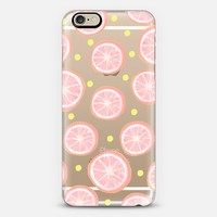 Pink Grapefruit and Dots (transparent) iPhone 6 case by Lisa Argyropoulos | Casetify