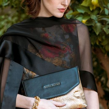 Sabina-Handpainted Gold and Black Evening Clutch