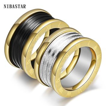 New Fashion Wedding Bands Jewelry Stainless steel With Ceramic Three Layer Engagement Ring for Women Jewelry Gifts