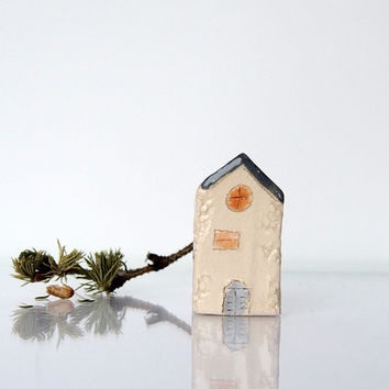 Miniature clay house, little rustic ceramic cottage house  home decor sculpture figurine house beige gray  Architecture Mediterranean House