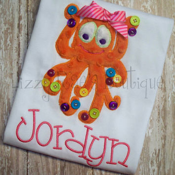 Octopus applique shirt- Summertime boutique applique shirt- Orange minky fabric