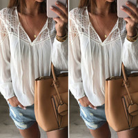 New Women Ladies Casual Loose Lace Strappy Cotton T Shirt Sexy V Neck Hollow Out Long Sleeve White Tops tee shirt femme Z2