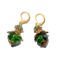 Emerald and Gold Dangle Earrings,St Patricks Day