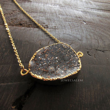 Black Druzy Necklace Gold Gray Charcoal Geode Drusy Gemstone Layering Long Mineral Rustic Modern Statement Natural Quartz Crystal Stone C1