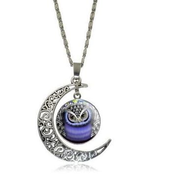 Silver Plated Moon Owl Glass Pendant Necklace