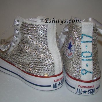 Clear High Top Converse with Aqua Crystal Date