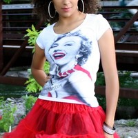 Marilyn Monore Red Scarf Crystal Tee | Viktor Viktoria Online Fashion Boutique