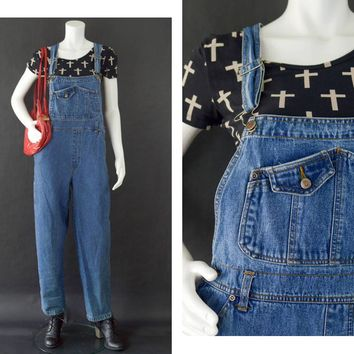 Vintage Denim Overalls, Cotton Jean Overalls, 80s Squeeze Jeans Baggy Overalls, Overall Bib Pants, Carpenter Overalls, Women's Size Large