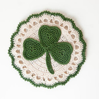 Shamrock // Crocheted Coasters // Green Clover // Housewarming Gift // Gift for the Home // Wedding Shower Gift