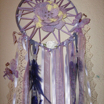 Lavender Butterfly Crochet Dream Catcher, beautiful silk,lace,satin,leather ribbons,butterflies,and feathers with a center crochet flower