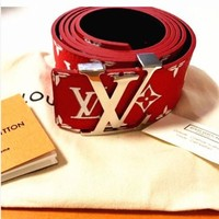 Perfect LV Supreme Woman Fashion Smooth Buckle Belt Leather Belt