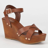 Platform Wedge Sandal - Tan