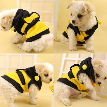 Cute Fleece Bumble Bee Lovely Wings Clothes for Dog Cat Pets = 1714381380