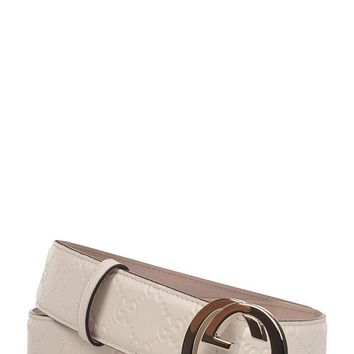 GUCCI WOMEN'S 370543CWC1G9022 WHITE LEATHER BELT