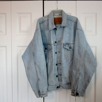 Vintage Levi Jacket Hipster Faded Denim Jacket Light Wash 80s 90s Grunge Denim Mens Medium Oversized Womens Levi Jean Jacket Unisex