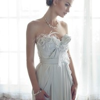 Parisian Princess Silk Wedding Gown - Bohemian Feather Flower Gray Custom Made Wedding Dress
