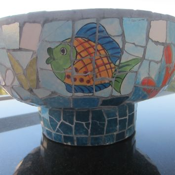 Nautical Mosaic Centerpiece Cement Bowl Hand Crafted Oceanic Coastal Scene