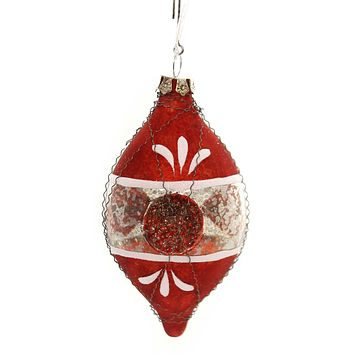 Holiday Ornaments TRADITIONAL ONION SHAPED INDENT Glass Vintage Wire Lg4400 Red