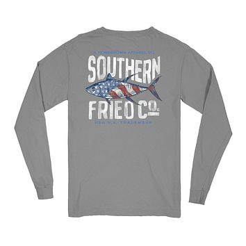 Red, White, & Tuna Long Sleeve Pocket Tee by Southern Fried Cotton