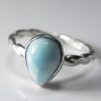 Larimar Ring  Larimar Stackable Ring  Stacking by FantaSeaJewelry