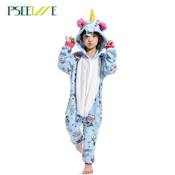 Cool Children's Animal Pajamas Winter Warm Girl Boy Kids Pajama Cartoon unicorn  Stitch Panda Cosplay Onesuit Hooded Cute  SleepwearAT_93_12