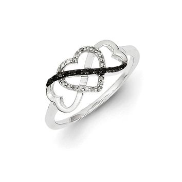 1/10 Ctw Black & White Diamond Triple Heart Ring in Sterling Silver