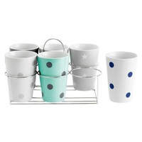 Wintermix Porcelain Mug 6Pc Set w/ Stand - PT Colorful Kitchen by Present Time - Events