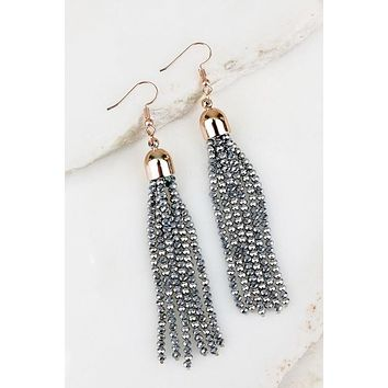 Bold Streak Silver Tassel Earrings