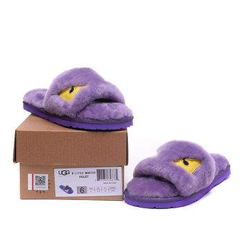 ESBON UGG Big Eyes Little Monster Slipper Women Men Fashion Casual Wool Winter Snow Boots Purple