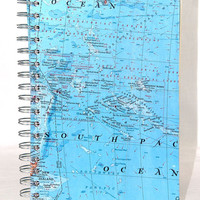 Spiral Bound Journal Vintage Map OOAK
